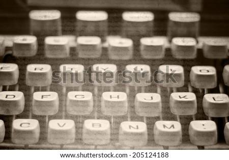 old typewriter monochromatic image  - stock photo