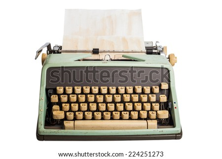 old typewriter on isolated white