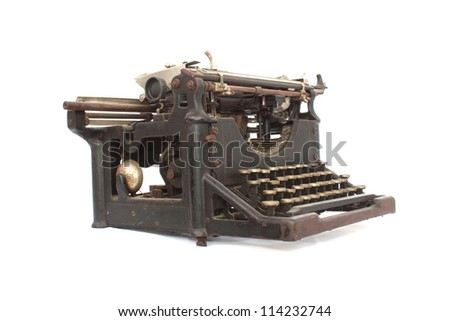 Old typewriter on white - stock photo