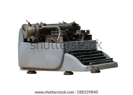 Old typewriter on white background - stock photo