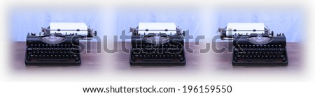 Old typewriter on wooden table, series of three - stock photo