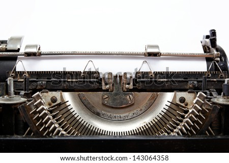 Old typewriter with a sheet of paper - stock photo