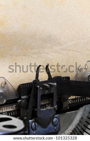 old typewriter with paper - stock photo