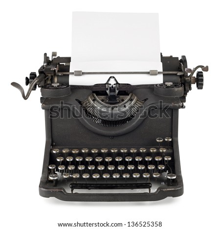 old typewriter with paper sheet - stock photo
