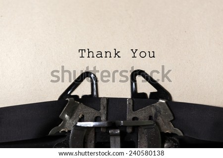 "Old  typewriter with text ""Thank You"" - stock photo"