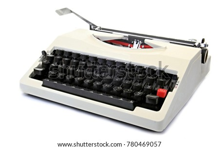 old typewriter with white background