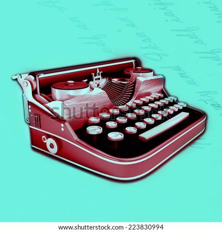 old typewriting machine - stock photo