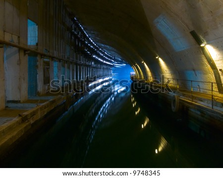Old underground shiprepairing dockyard - stock photo