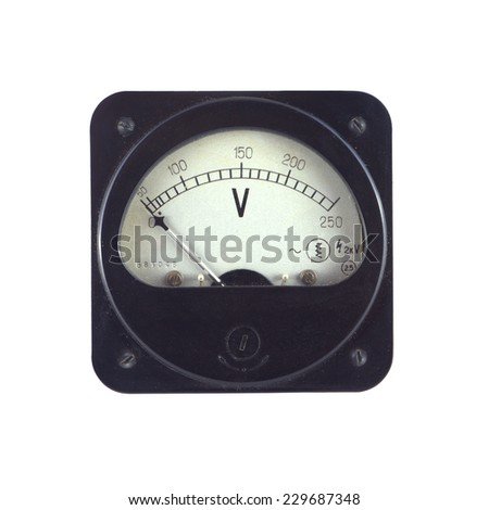 Old unplugged voltage meter shows zero voltage isolated on white closeup - stock photo