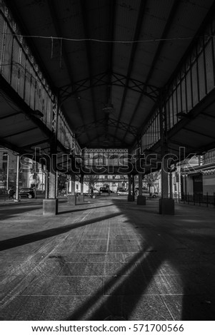 Old Urban Canopy In Turin City Black And White Italy 26 January2017
