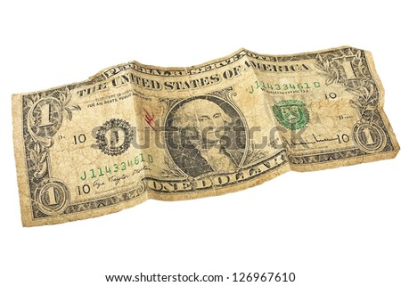 old us dollar bill isolated on white