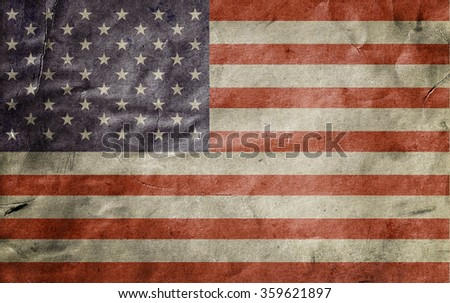 Old usa flag. Vintage paper. Card. Grunge background