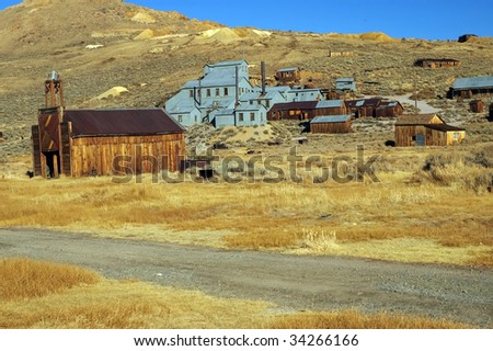 old usa western gold ghost mining town of bodie - stock photo