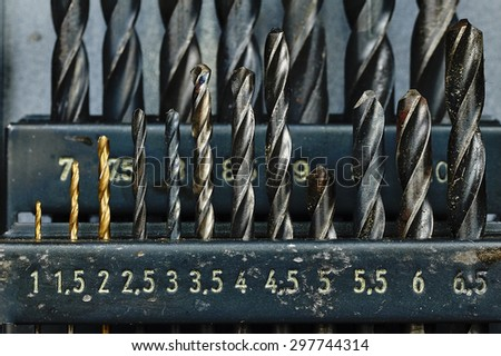 Old Used Box With Drills - stock photo