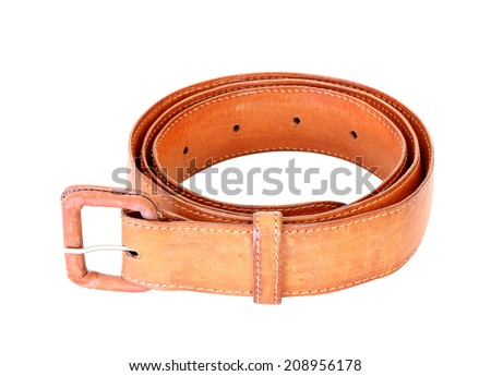 old used brown leather belt isolated on white background - stock photo