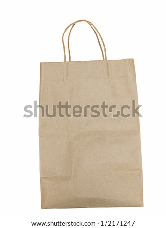 old used brown recycle paper shopping bag isolated object on white background