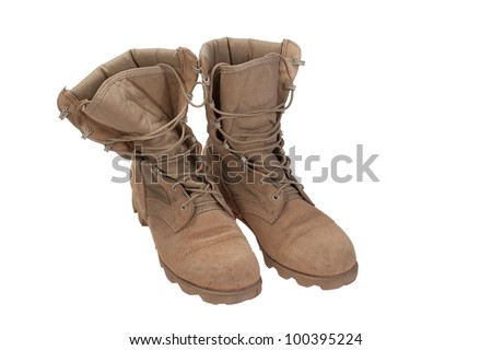 old used desert boots iraq war period isolated - stock photo