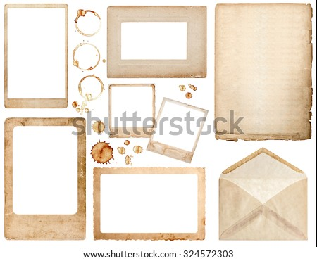 Old used paper, envelope, photo frames and coffee stains isolated on white background. Scrapbook elements
