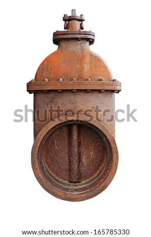 Old Valve isolated on a white background. - stock photo