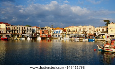 Old Venetian harbour in city of Rethymno, Crete, Greece - stock photo