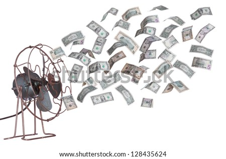 old ventilator and dollar banknotes - stock photo