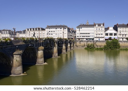 Old Verdun bridge over Maine river at Angers, a commune in the Maine-et-Loire department, Pays de la Loire region, in western France about 300 km (190 mi) south-west of Paris