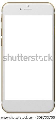 Old version smartphone gold with blank screen, isolated on white background - render illustration. New version available in my portfolio.  - stock photo