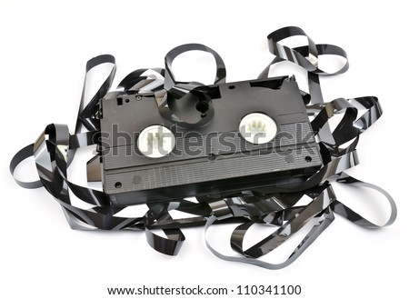 Old  vhs video cassette isolated on white background - stock photo