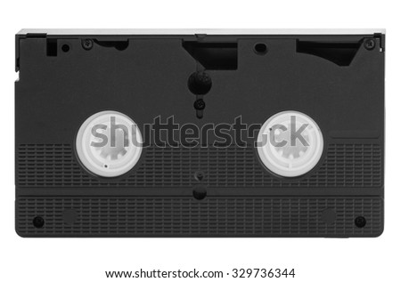 Old vhs video cassette Tape Isolated on white background - stock photo