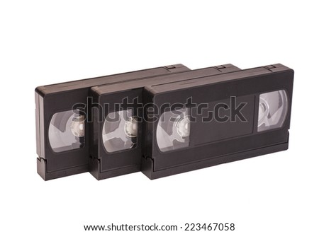 Old vhs video cassettes  - stock photo