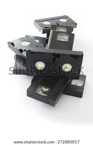 Old VHS Video Cassettes Isolated on a White Background.