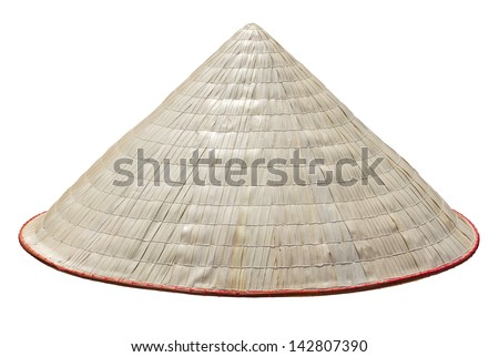 Old Vietnam straw hat. Clipping path included. - stock photo