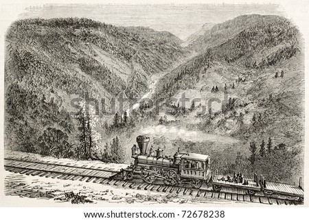 Old view of American canyon from Cape Horn, California, along Union Pacific Railroad track. Original, created by Lancelot, was published on L'Illustration, Journal Universel, Paris, 1868 - stock photo