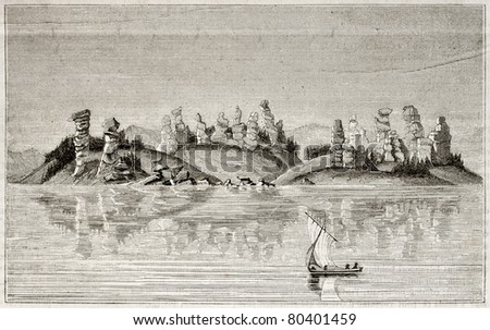 Old view of Kolyvan lake, Siberia. By unidentified author, published on Magasin Pittoresque, Paris, 1850 - stock photo