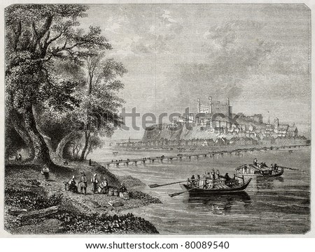 Old view of Presburg, today Bratislava, and Danube river. Created by Freeman and Best, published on Magasin Pittoresque, Paris, 1850 - stock photo