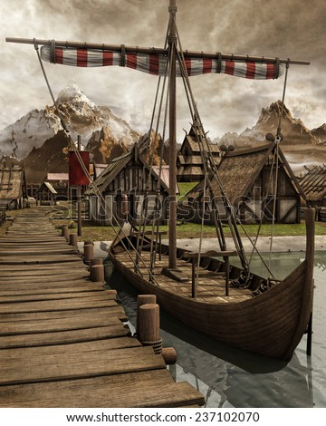 Old Viking boat in a medieval village in the mountains - stock photo