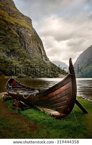 Old viking boat in Sognefjord, Norway - stock photo