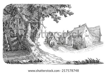 Old village - stock photo