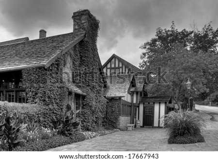 Old village homes in black and white