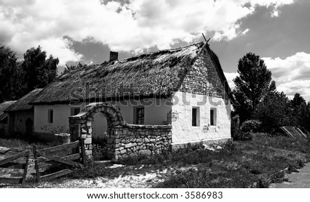 Old village house. Black & white