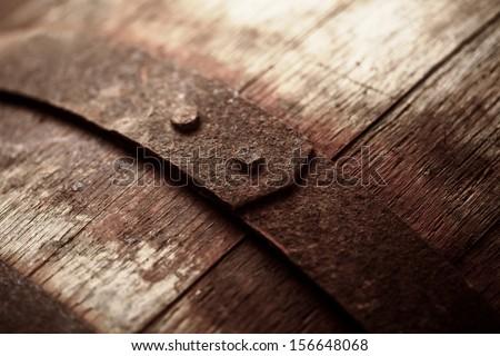 Old vine barrel. Macro image. - stock photo