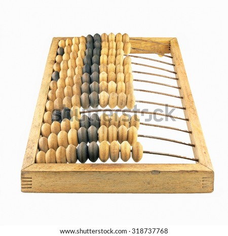 Old vintage abacus in perspective isolated on white