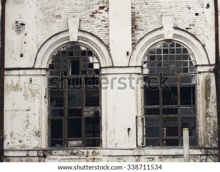 Old vintage abandoned building - stock photo