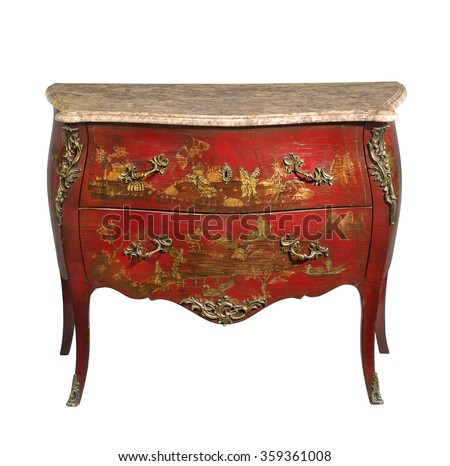 old vintage antique chest of drawers known as commode  wood painted to look Japanese ormolu furniture and marble top isolated on white with clipping path - stock photo
