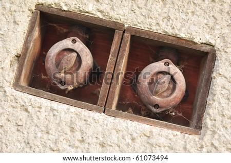 Old Vintage bakelite light switch - stock photo