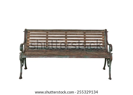 Old vintage bench isolated on white background. - stock photo