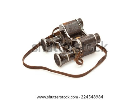 Old vintage binoculars since World War II isolated on white background