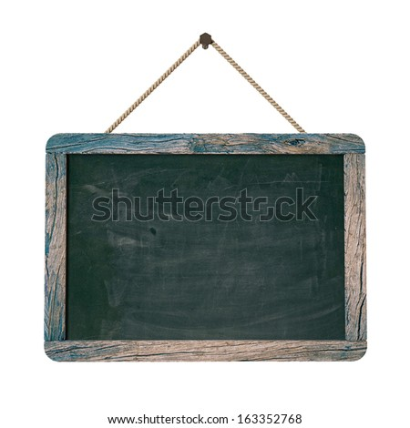 old vintage blackboard hanging in the wall, isolated on white background - stock photo