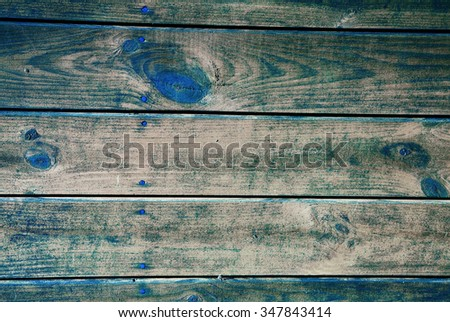 Old vintage boards, forming a wall of the wooden house, with visible applied nails, wood grain, scratches, damage and cracks between the boards , interesting background and texture. Horizontal view. - stock photo