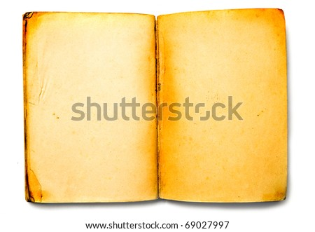 Old vintage book, empty grunge paper. Background texture - stock photo